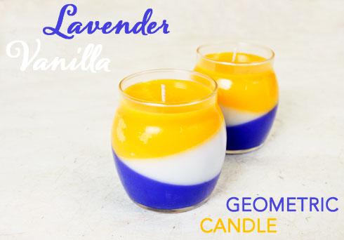 Lavender Vanilla Geometric Candle