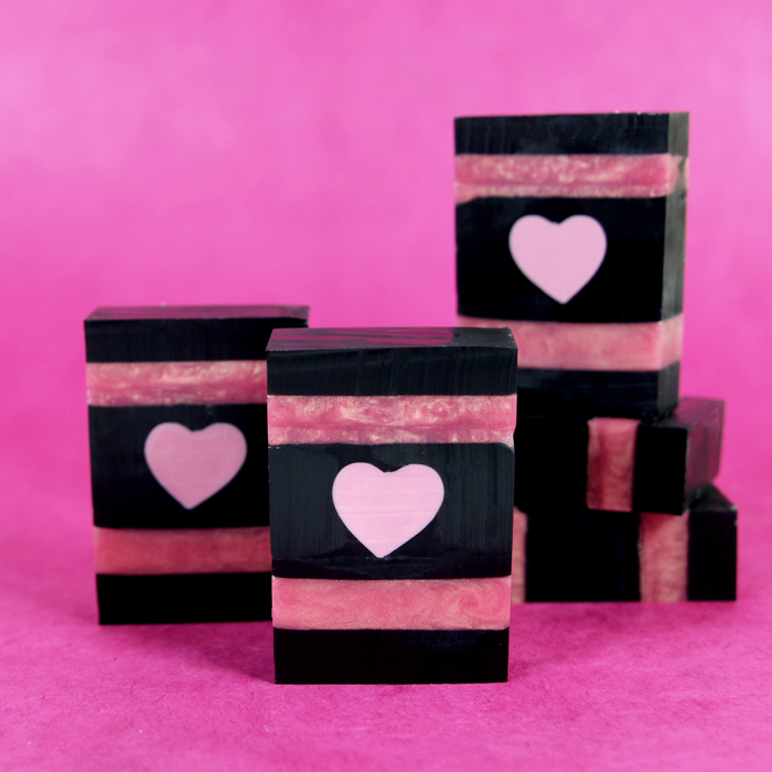 Rose Gold & Charcoal Heart Melt and Pour Bars Kit