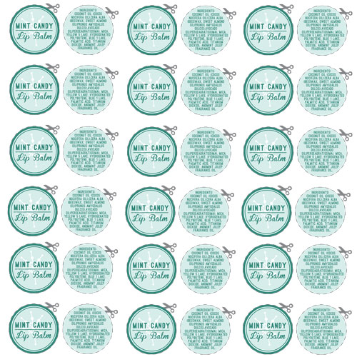 Free Mint Candy Lip Balm Labels Downloadable PDF