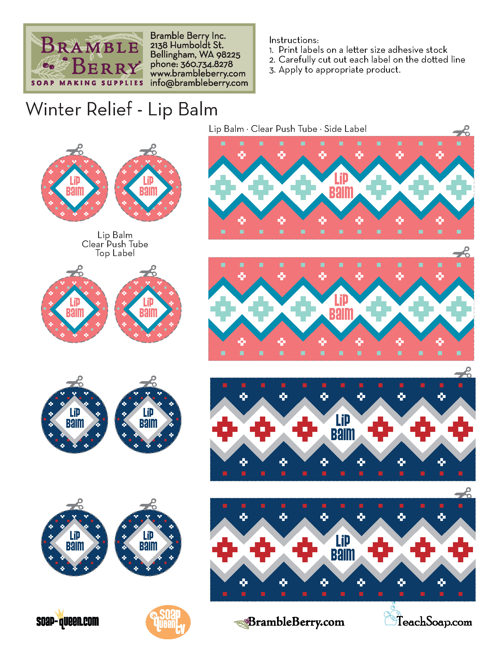 Free Download: Winter Relief Lip Balm Labels