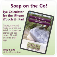 Bramble Berry's Lye Calculator App makes creating Soap recipes quick and easy.