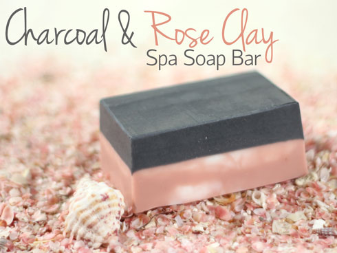 Create a cleansing charcoal and rose clay soap bar.