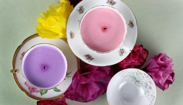 English Garden Tea Cup Candles