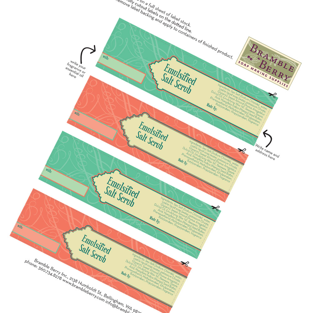 Emulsified Scrub Labels - Digital File