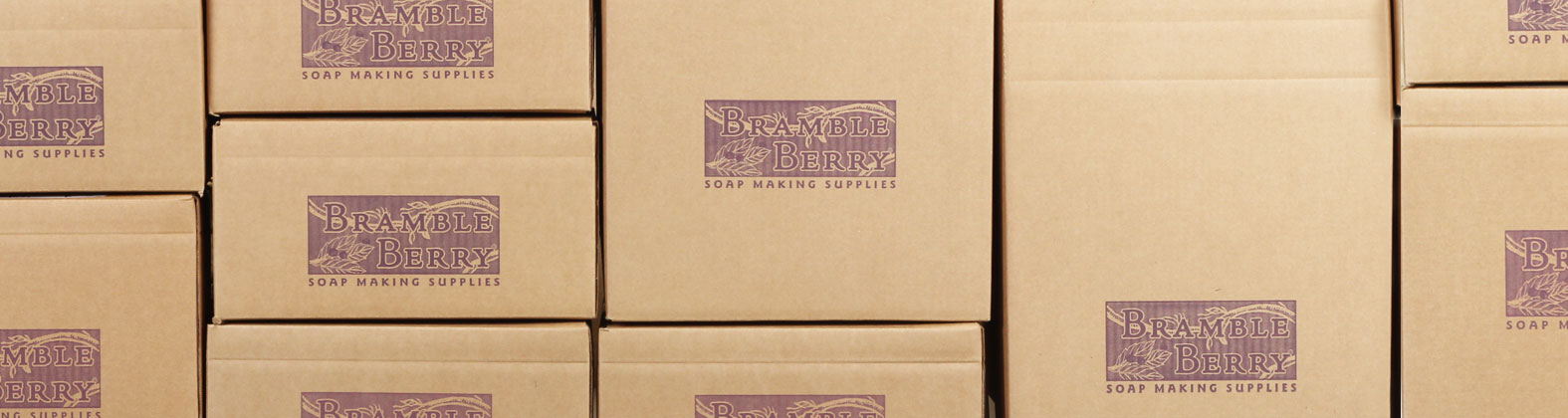 cardboard boxes imprinted with Bramble Berry