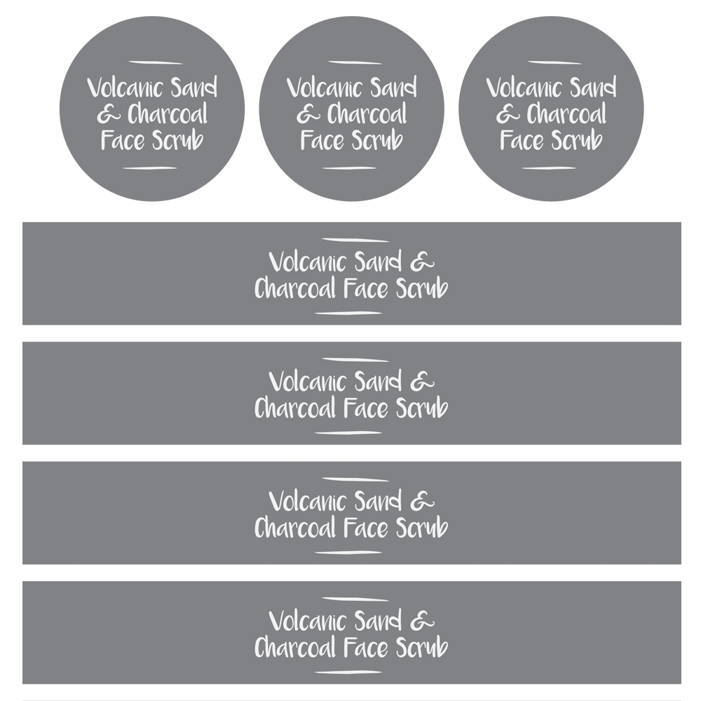 Volcanic Sand & Charcoal Scrub Label Template - Free PDF