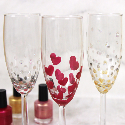 DIY Nail Polish Painted Champagne Flutes Kit