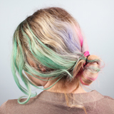 Hair Chalk on blonde hair, shows up much more brightly than on dark hair.